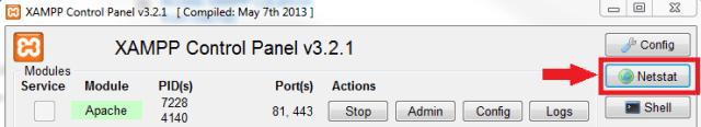 Screenshot of xampp control netstat