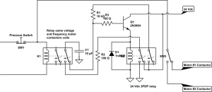 relay  interchangeable operation of two electric motors without PLC  Electrical Engineering