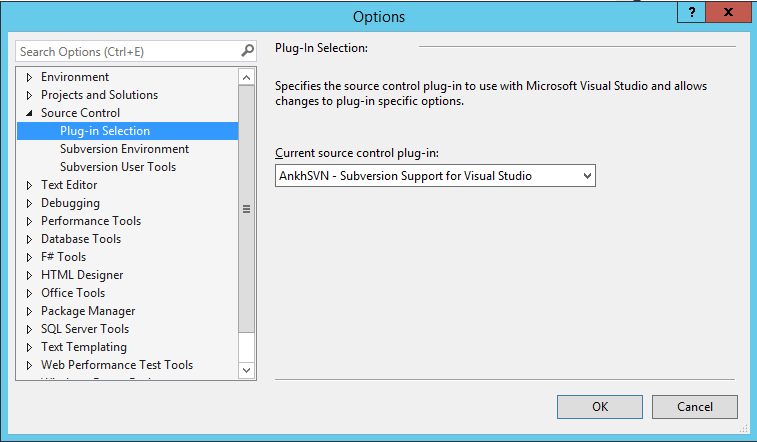 VS2013 AnkhSVN Plug-In Selection