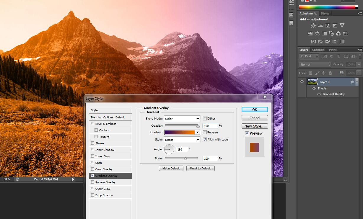 Adobe Photoshop How To Add A Color Gradient To A Picture