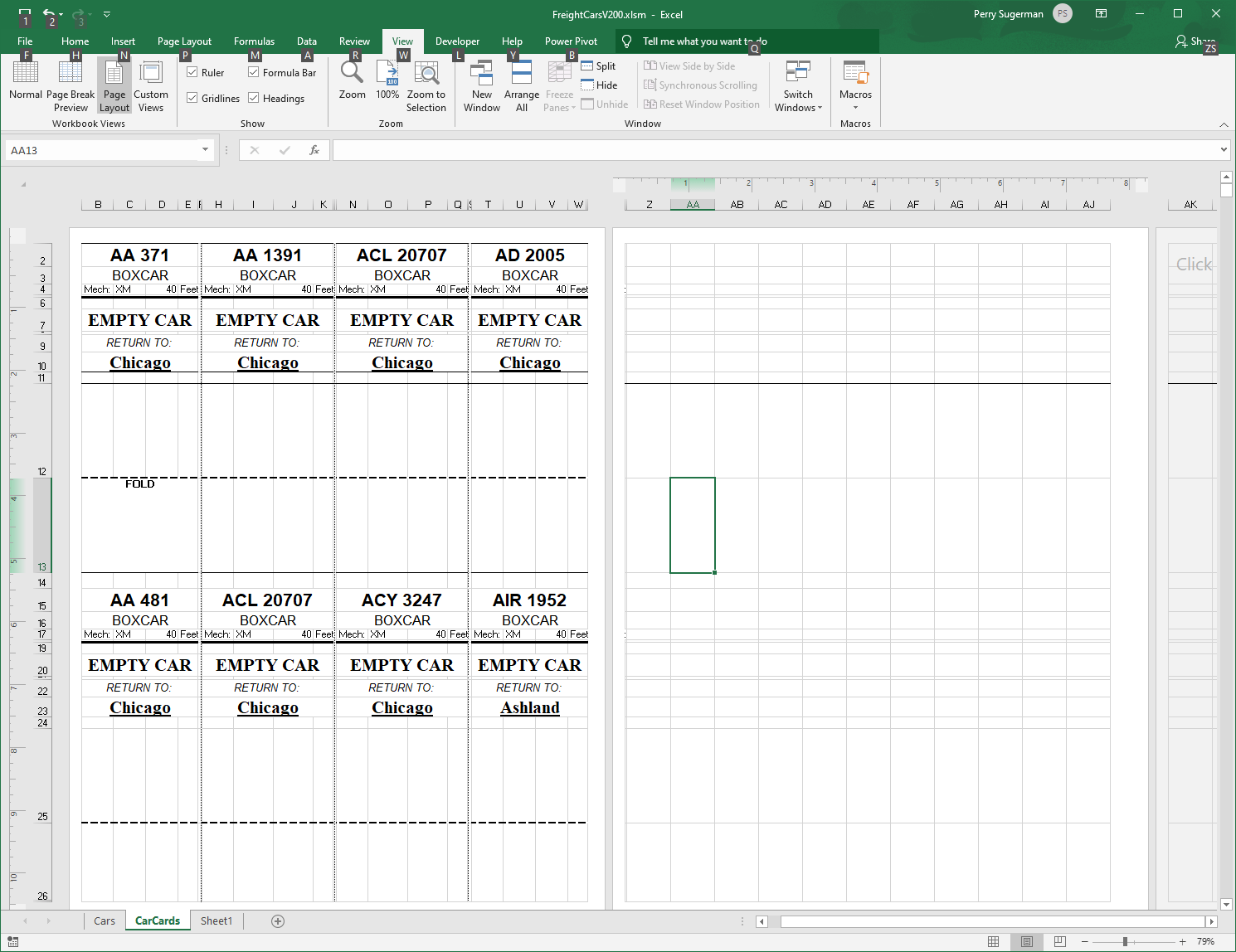 Excel Worksheet With Many 2 125 X 5 5 Parts To Be