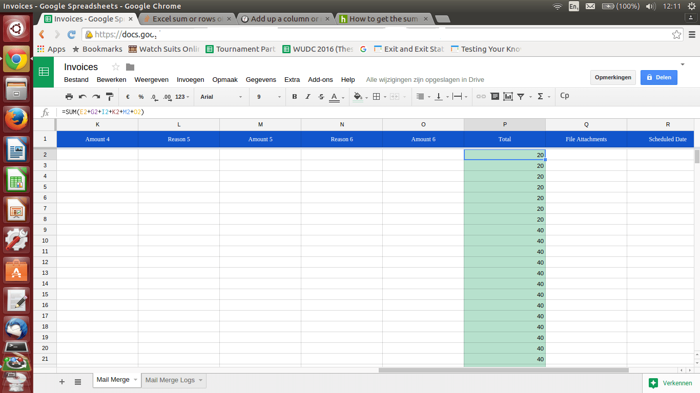 Spreadsheets Sum Or Rows Of Certain Columns