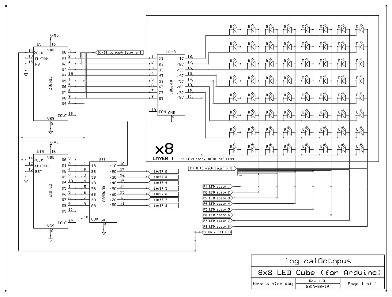 Circuit For Led Cube