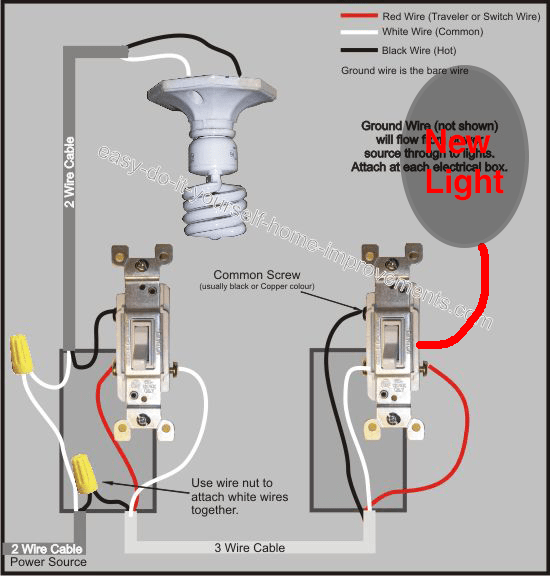 adding light to existing 3way switch configuration  home