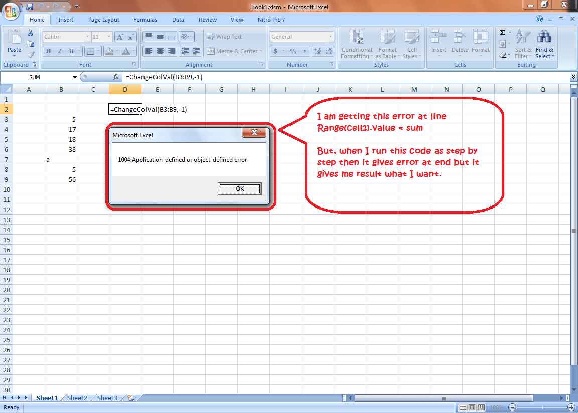 Excel Vba Range Cell Lue Sum Application Defined