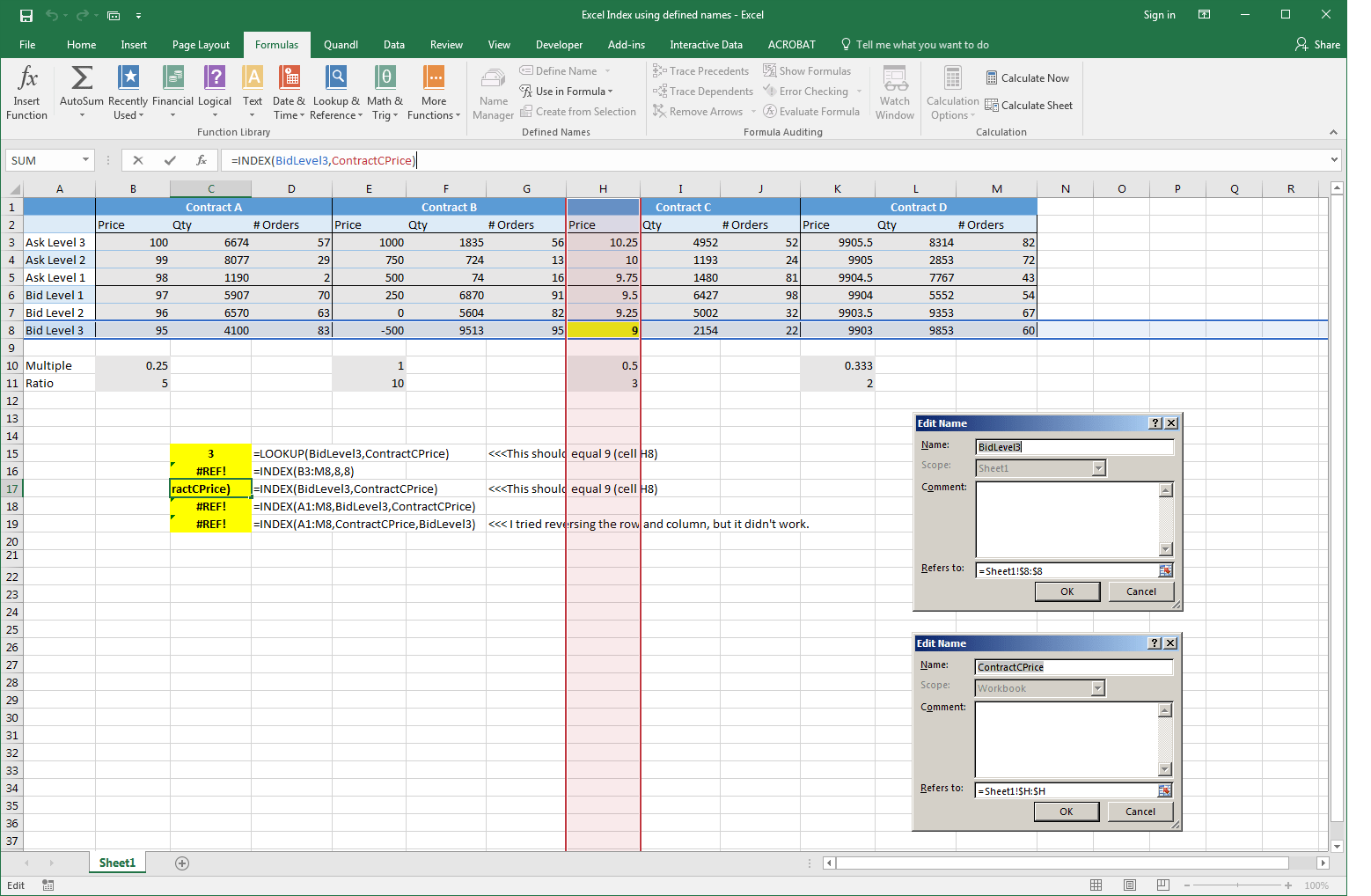 Excel Using Index Function With Defined Names To