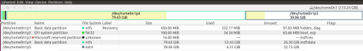 screenshot of gparted for my SSD