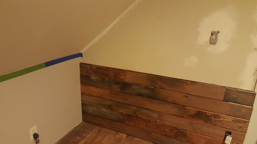 hardwood floor   How to cut wood panel for angled ceiling    Home     enter image description here  I am adding wood paneling to the wall