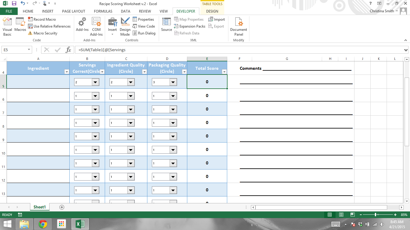 Simple Sum Of Dropbox Values For Scoring Excel Worksheet