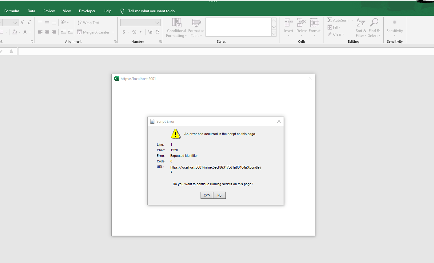 Excel Authentication Webview Does Not Display Angular Site
