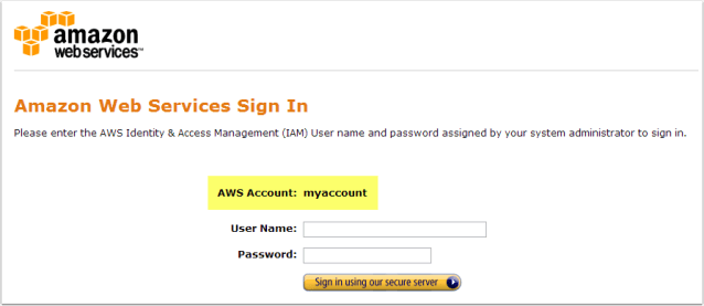 All done! Your URL forwarding should take you to the AWS sign-in page.