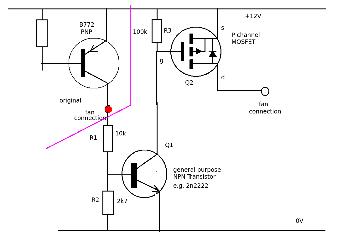 Running A Mosfet From A Transistor For A Fan Controller
