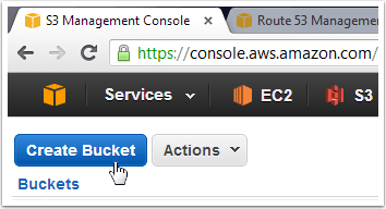 """Open the S3 Management Console and click """"Create Bucket"""""""