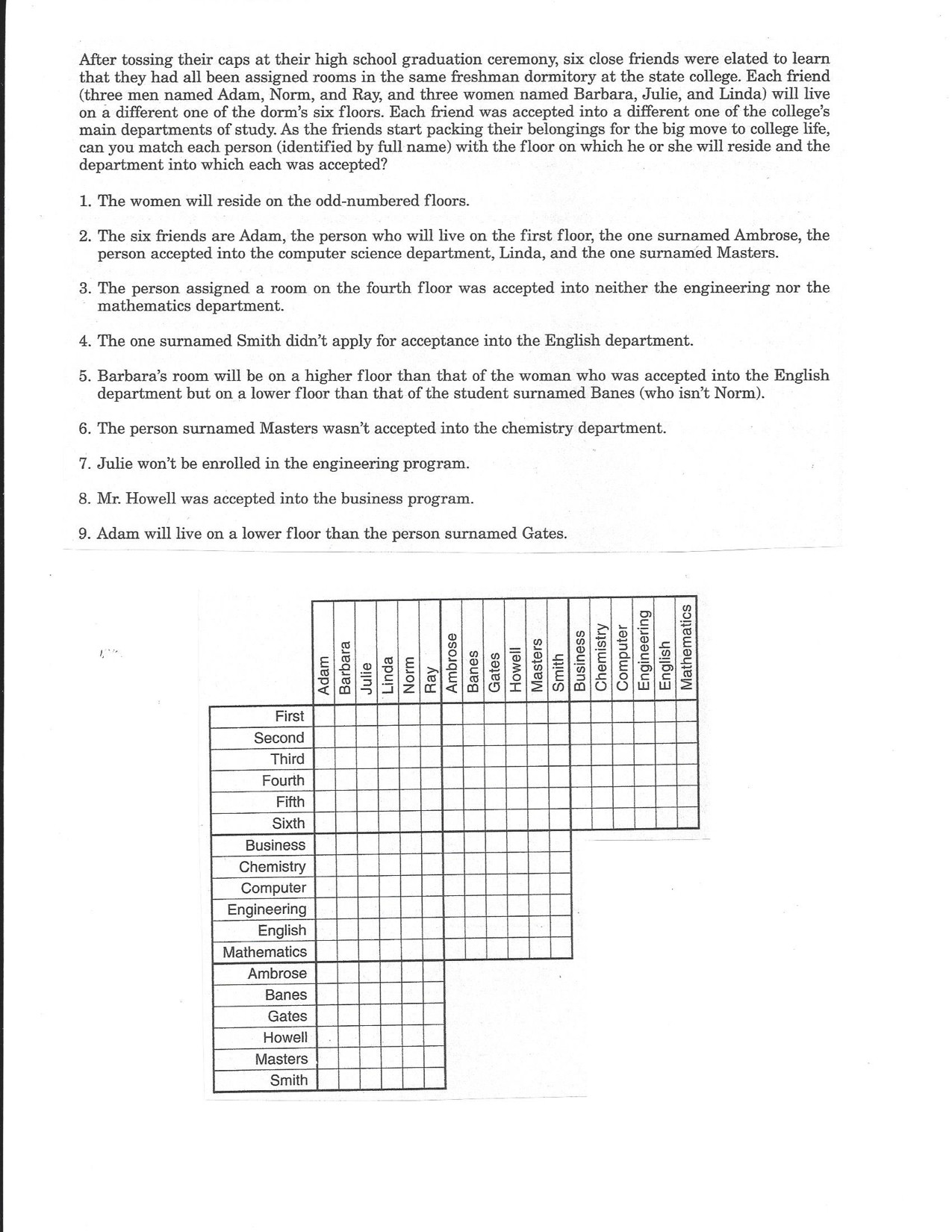 Interesting Logic Puzzle Grid Problem