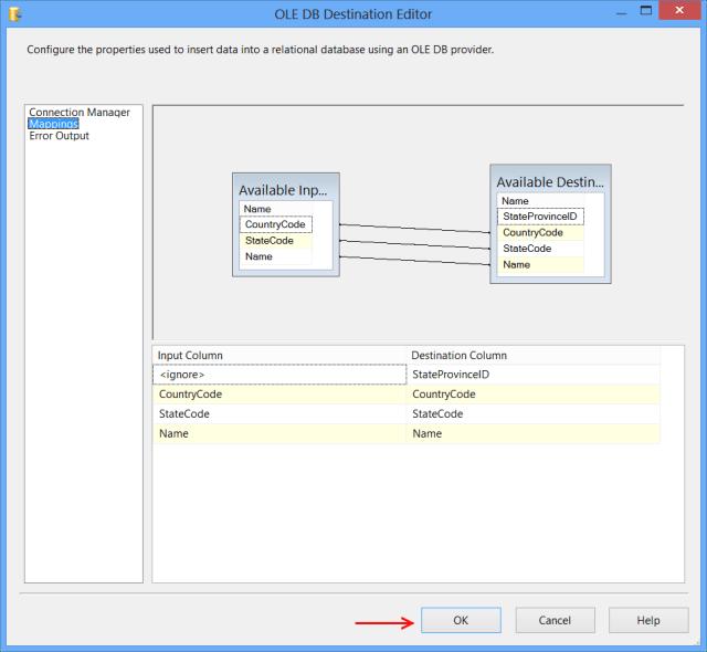 OLE DB Destination Editor - Mappings