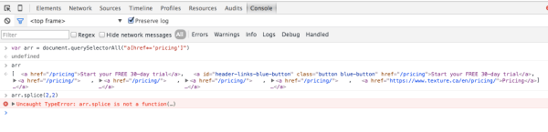 javascript - array.splice() gives error TypeError: arr ...