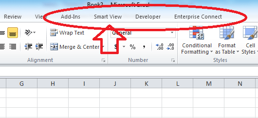 Ruby SmartView Excel Add In Not Available When Using