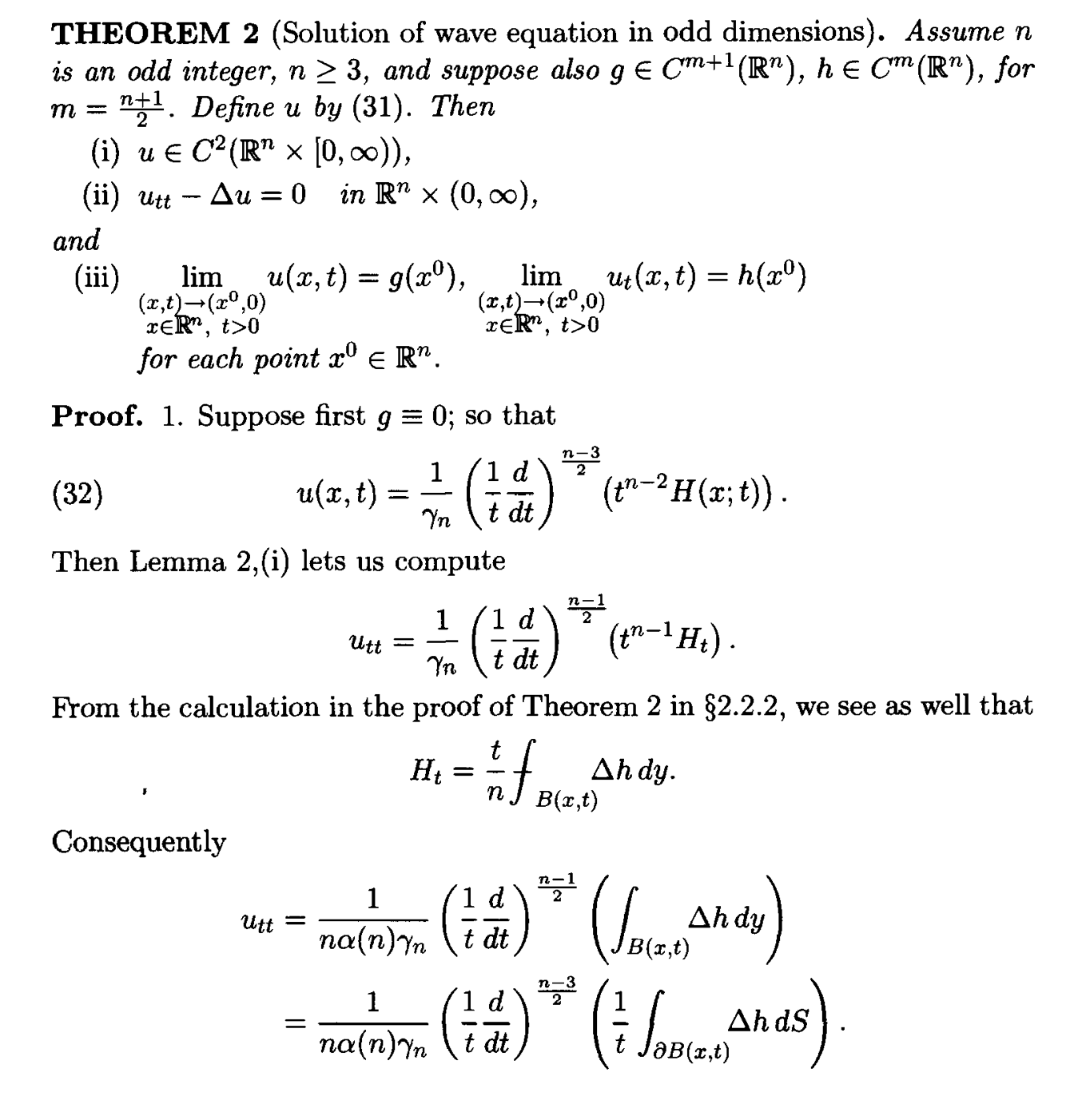 Solution Of Wave Equations In Odd Dimension Evans Pde