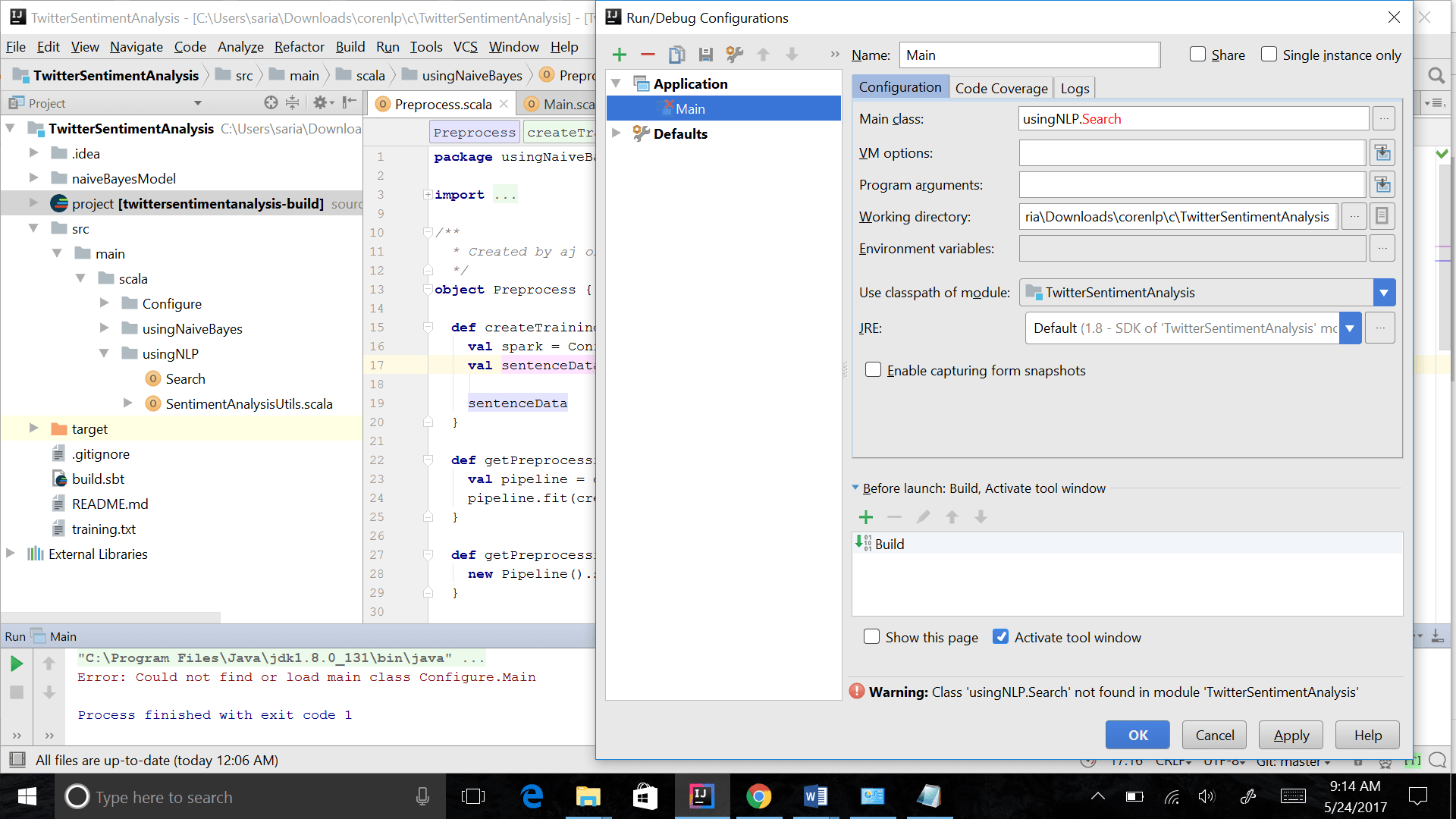 Could Not Find Or Load Main Class In Scala In Intellij Ide