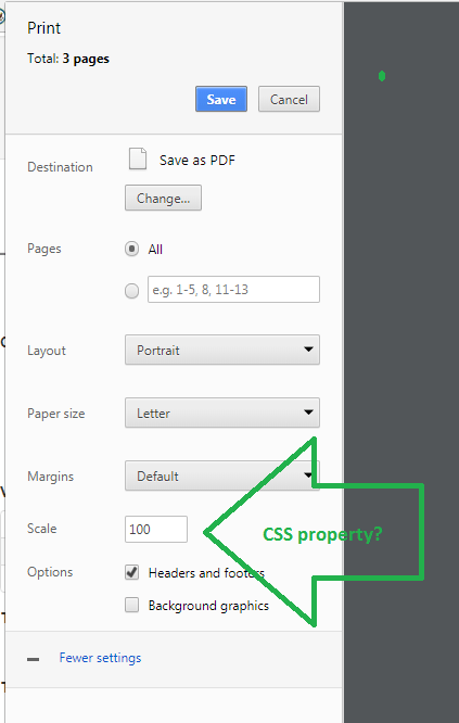 "Chrome's print dialog's ""scale"" setting"