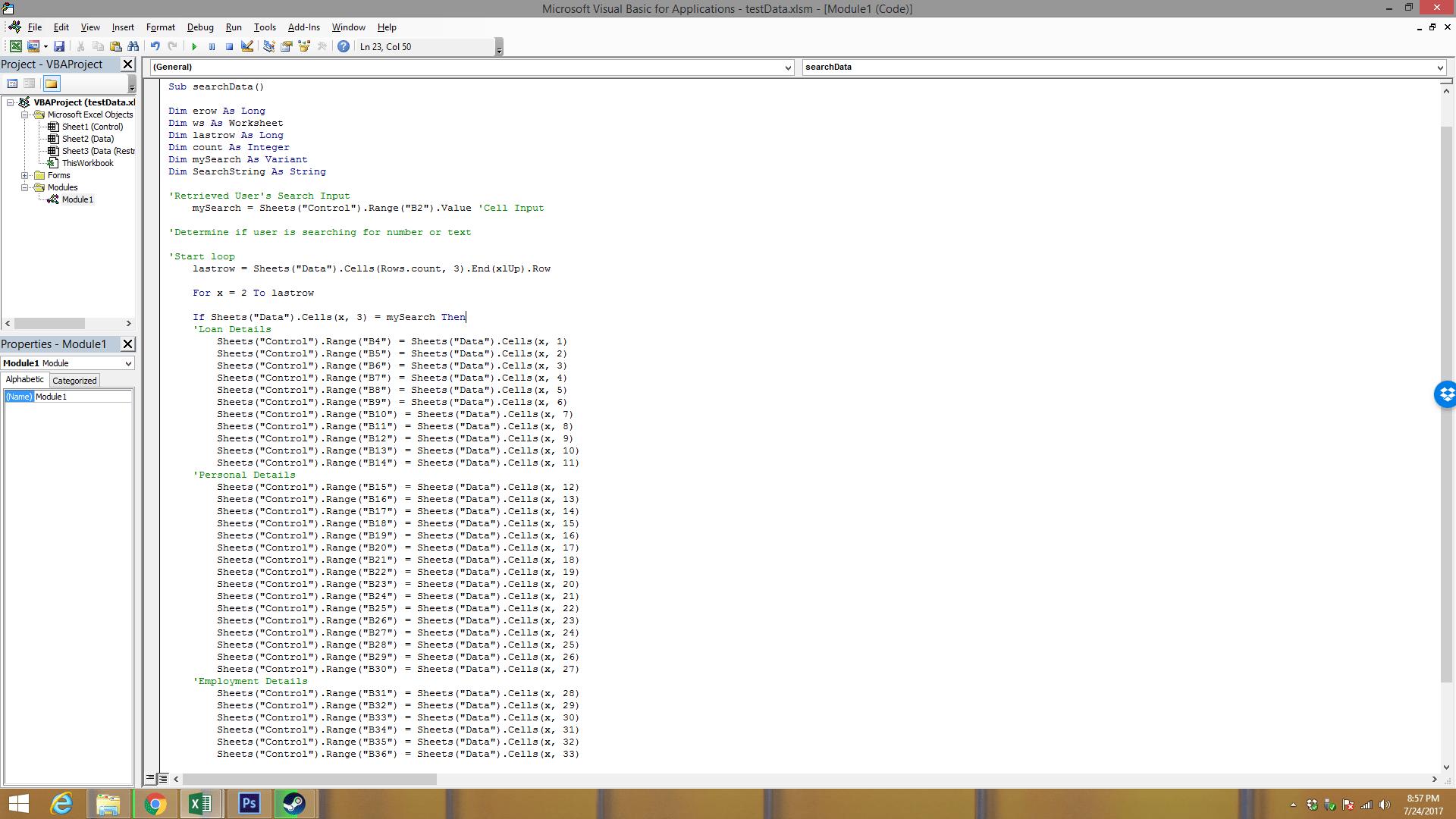Searchbox In Excel Vba