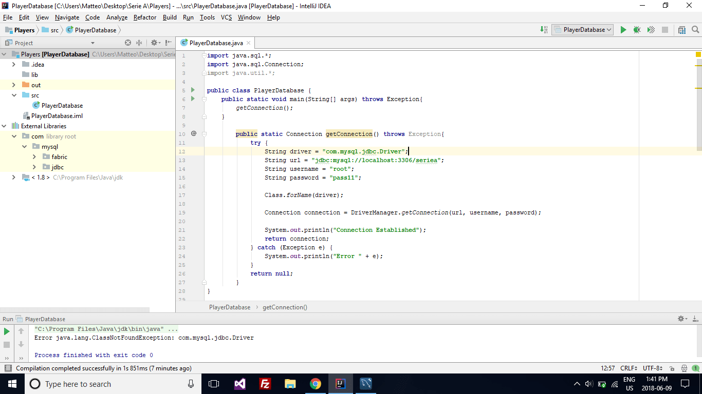 Intellij Java Ngassnotfoundexception Comsql Jdbc Driver Driver