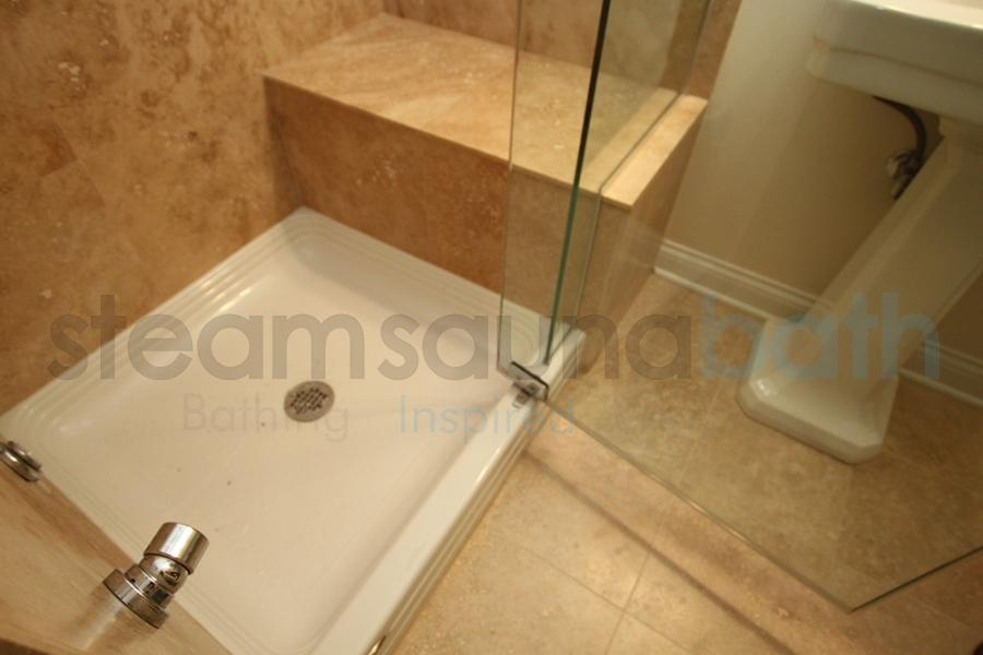 acrylic shower base with tile bench