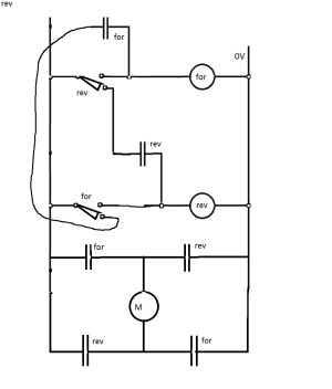 switches  Circuit for a DC motor with 2 microswitches