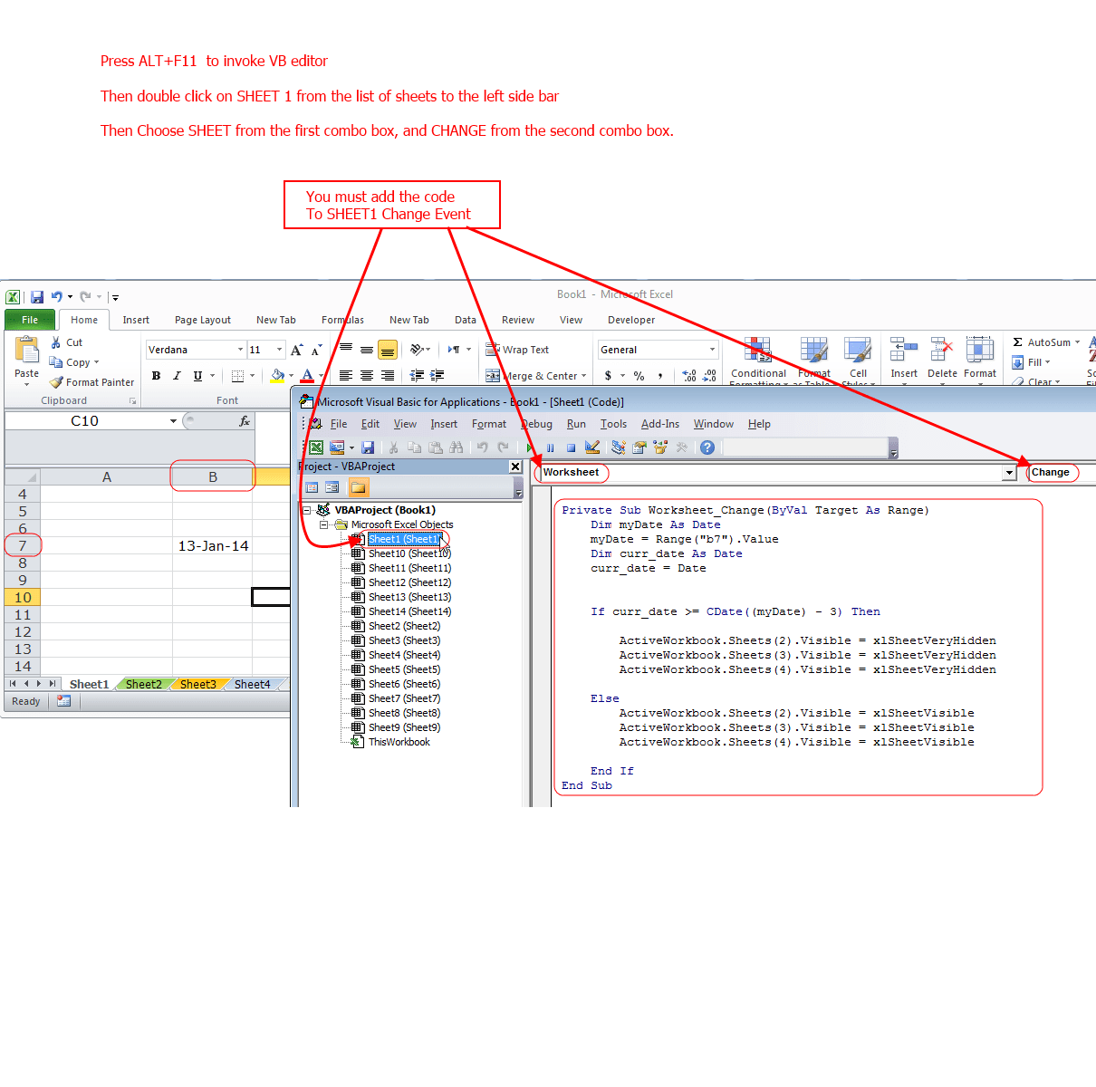 Excel Hide Worksheet Vba Code