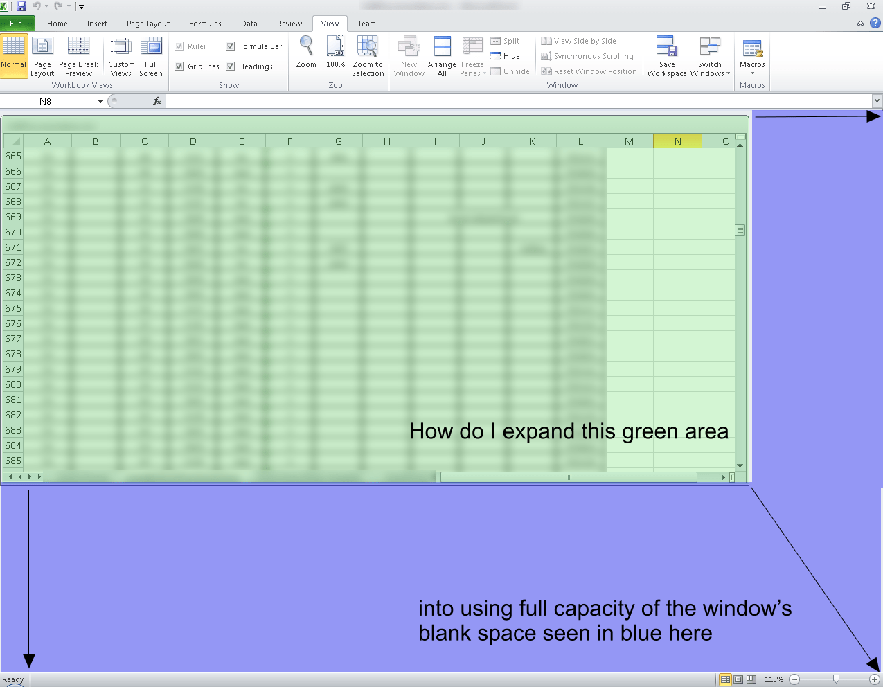 How Does One Expand An Open Excel Workspace To Use 100 Of