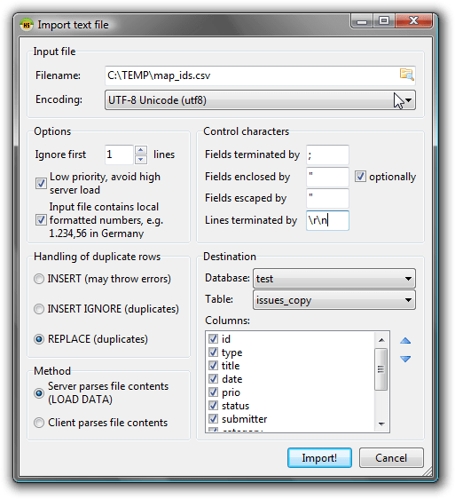 Import textfile