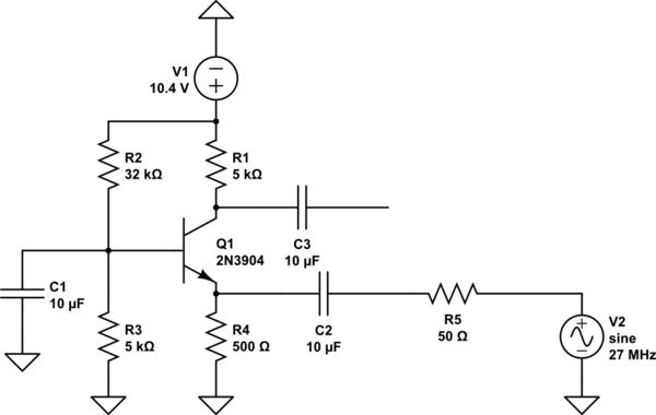 Common Base Amp Gain Problem