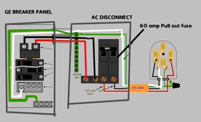 how to hook up 120v  240v on ac disconnect  home