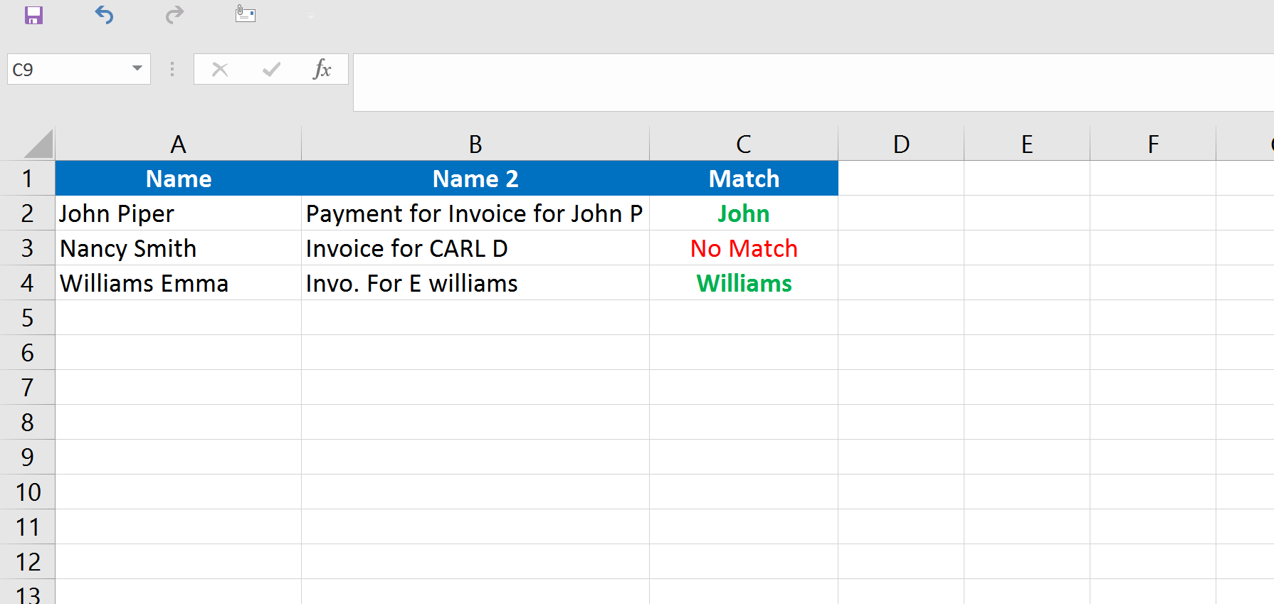 Compare Text Within Two Cells In Excel Vba