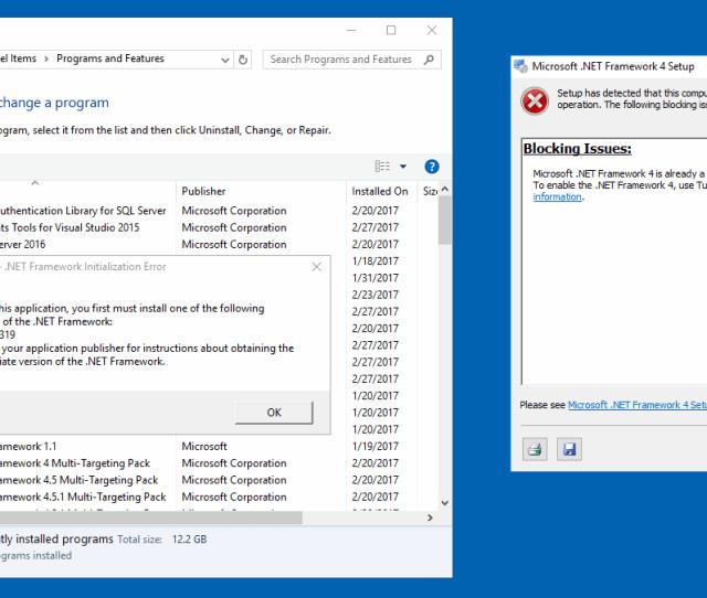 1 Server Manager Error 2 Net4 Setup Error