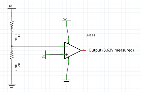 LM358 (as Comparator) Output Voltage Less Than