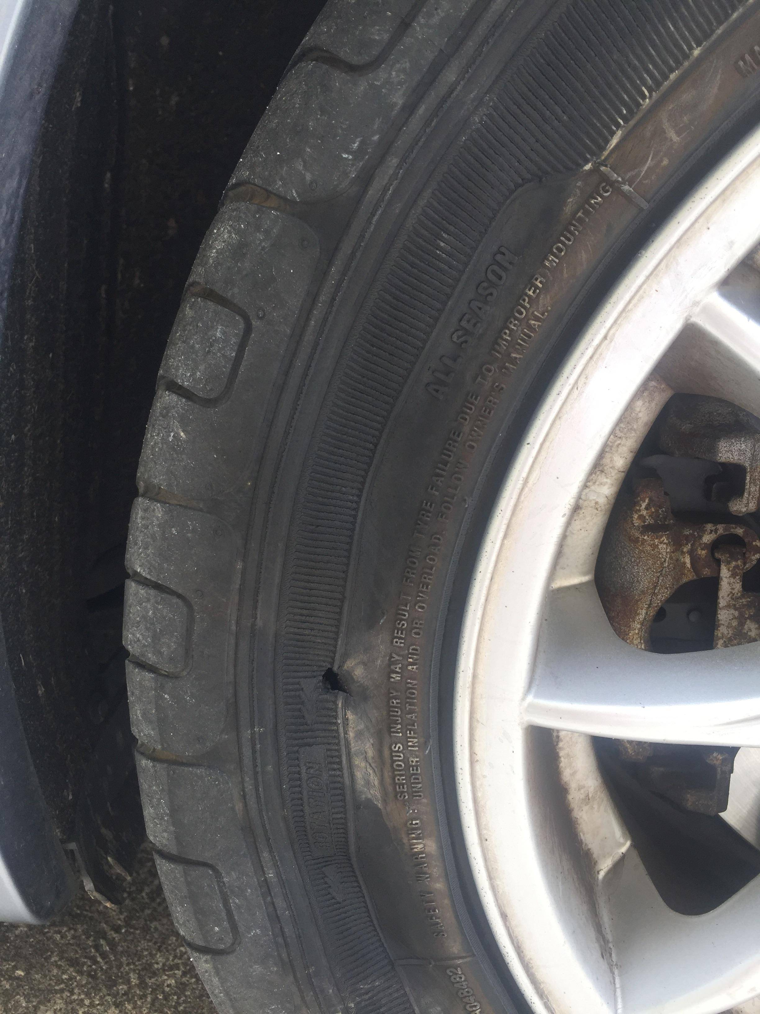 Tires Slashed Tyre Or Something Else Motor Vehicle