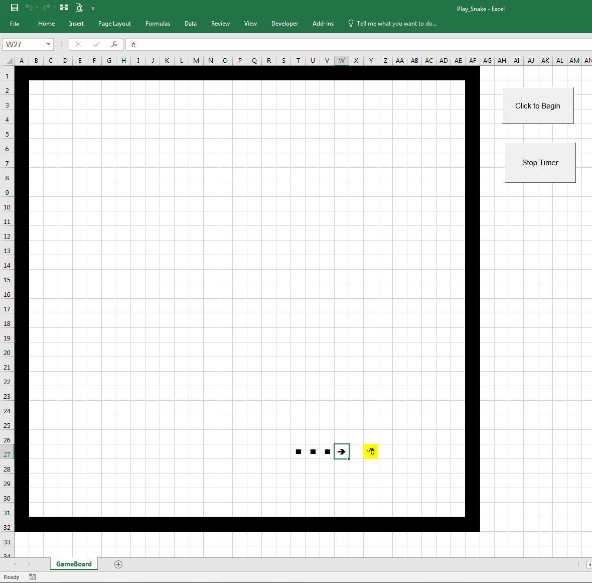 Snake In Excel In Vba
