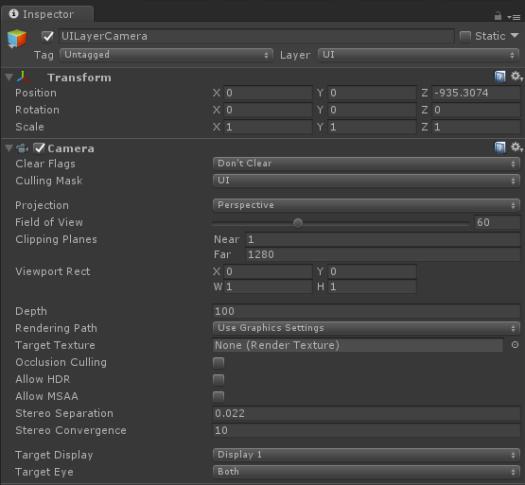 UI Camera Configuration