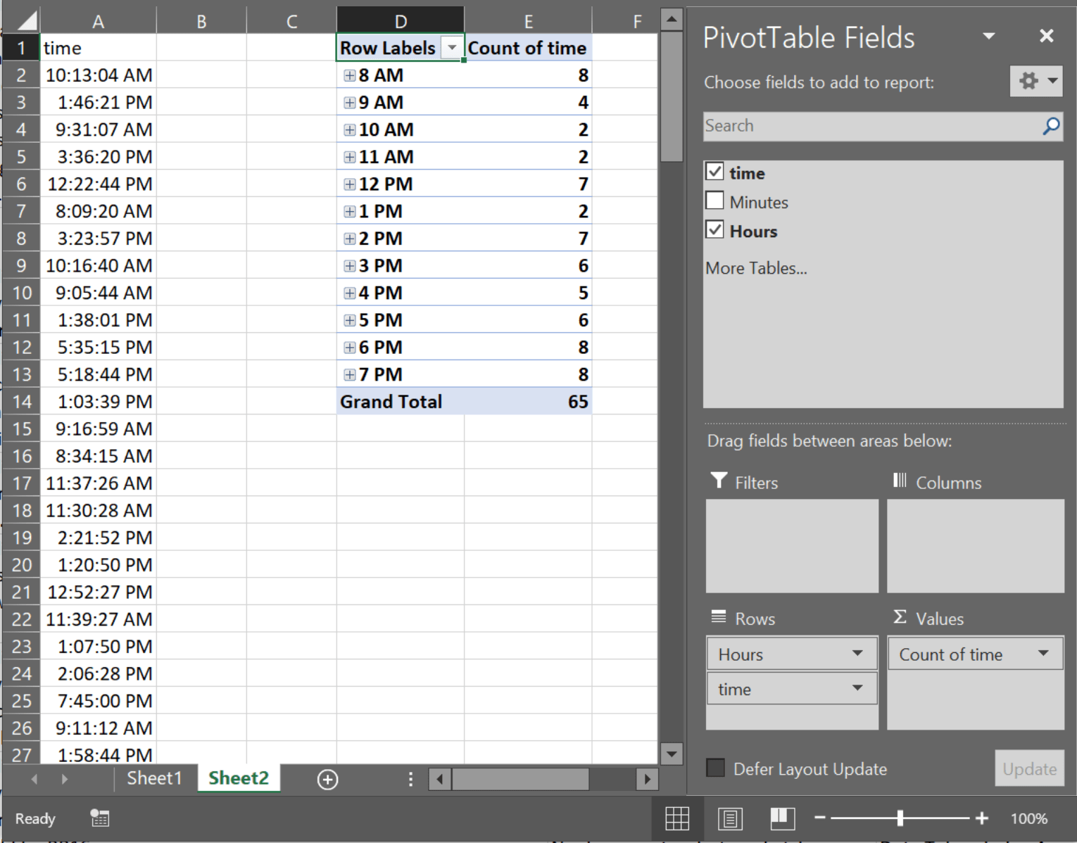 How Can I Count How Many Cells In An Excel Spreadsheet Have A Non Specific Time Range In Them