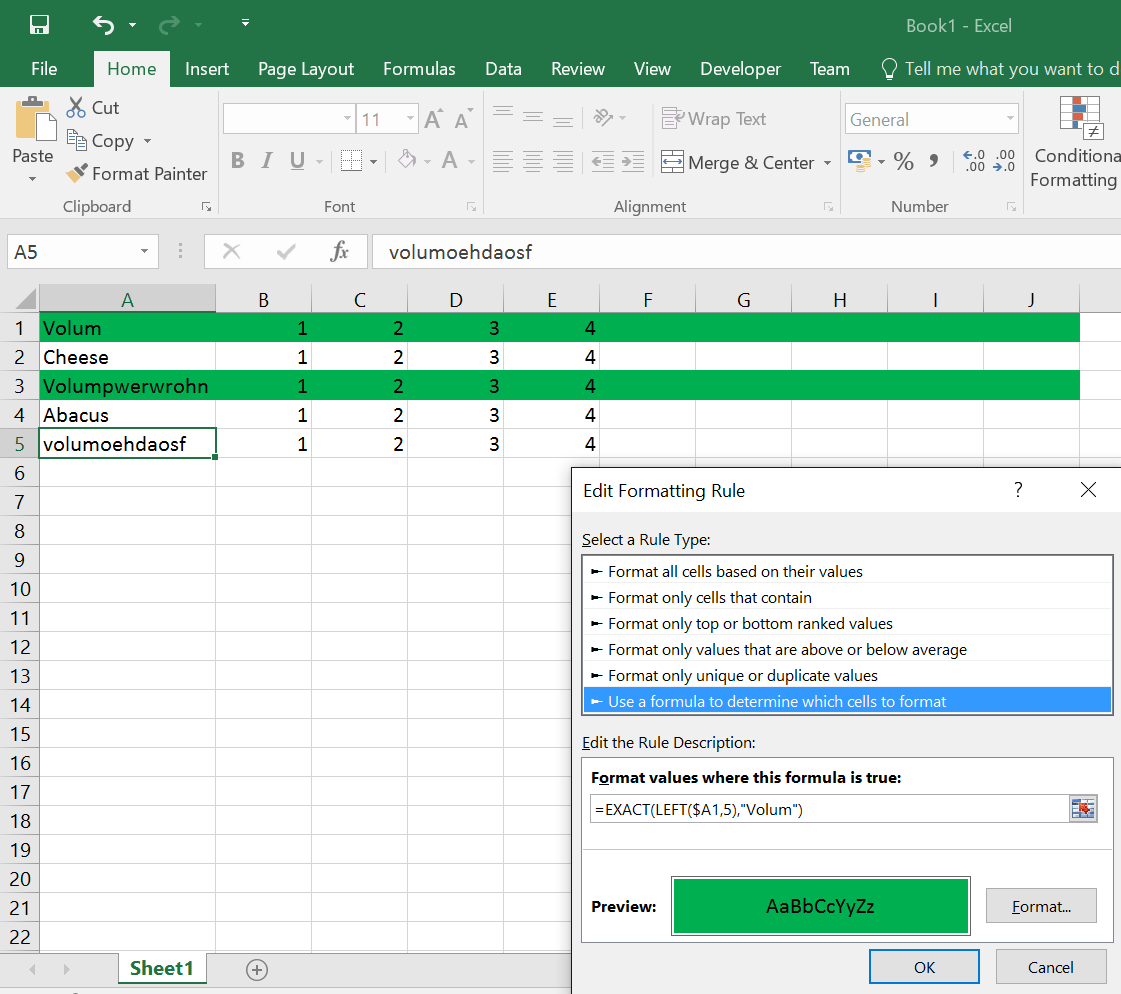 Conditional Formating Of Excel Row Based On The Value Of The First Cell Of The Row