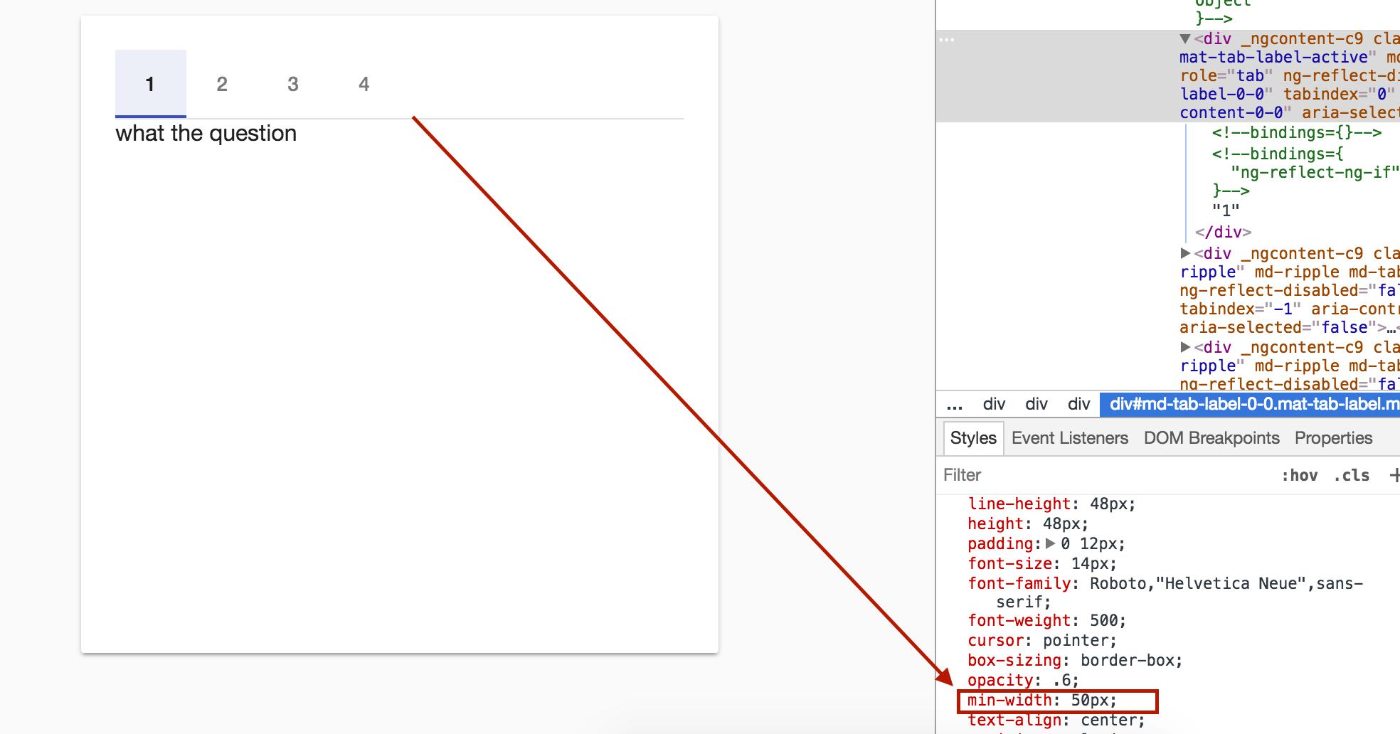 Angular 2 Material Mat Tab Size