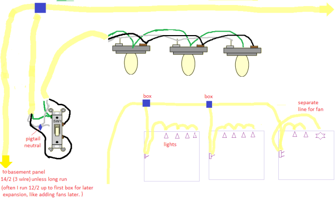 best way to wire multiple lights in multiple rooms on single