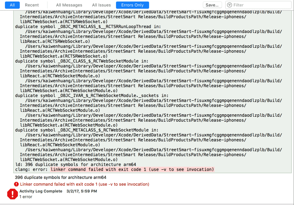 React Native Xcode Project Product Archive Fails With Duplicate Symbols For Architecture Arm64 Stack Overflow