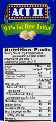 does popped popcorn have less calories