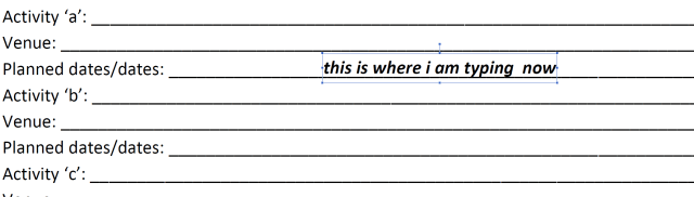"""Microsoft Word form - Preserving """"lines"""" to type on instead of"""