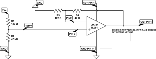 Need To Amplify 13mv To 5volts Using A LM324