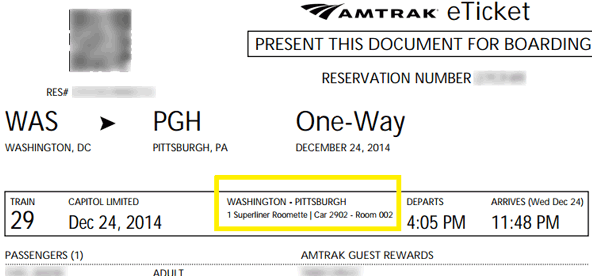 Sample Amtrak Eticket Indicating A Roomette Ignment