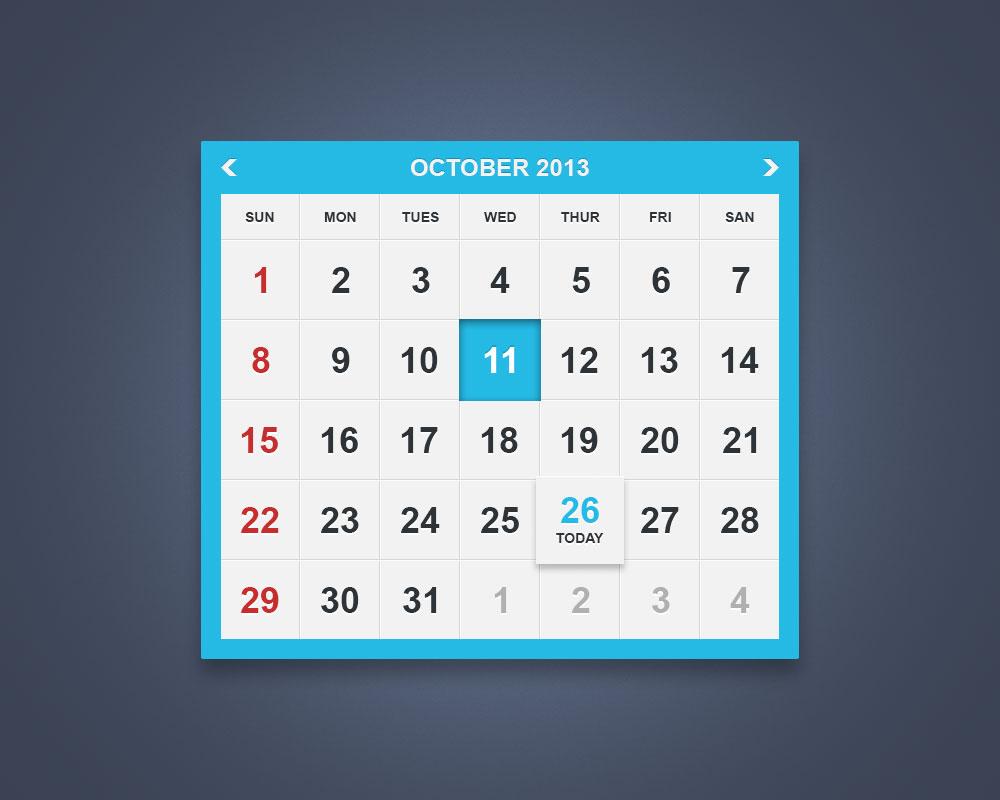 Html Calendar Custom Css Style Stack Overflow