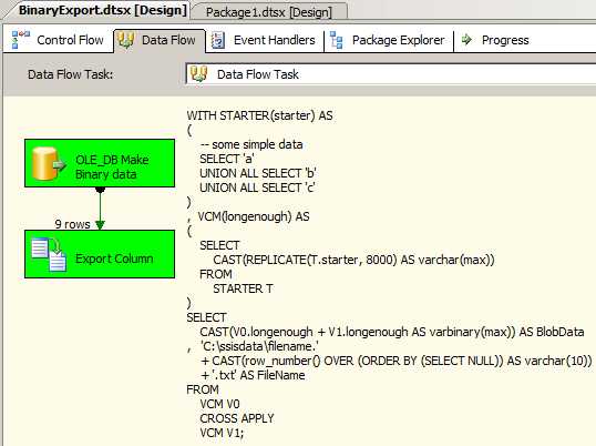 Export Varbinary Max Column With Ssis
